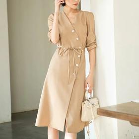 时尚气质,V 领五分袖收腰显瘦连衣裙YKYM-2009