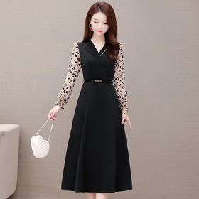 气质减龄,修身显瘦长袖印花连衣裙YW-KSF20A133