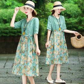 洋气减龄中长款,碎花连衣裙复古裙HT- YX7242
