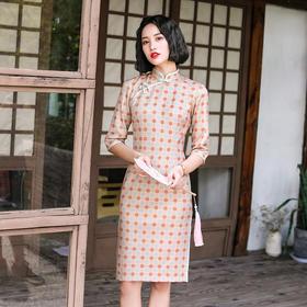 复古中国风,改良中长格子麂皮绒旗袍YT-2162