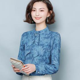 宽松精致印花,长袖打底洋气雪纺衬衫AYL-006035