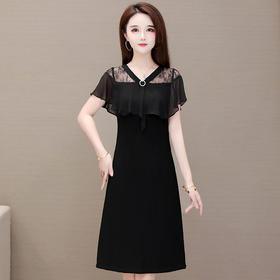修身显瘦,气质时尚打底短袖蕾丝连衣裙YW-HYX-B22067