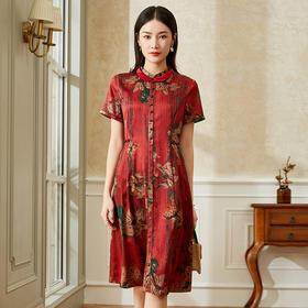 高端舒适,丝绸真丝珍珠缎印花连衣裙XN-2835