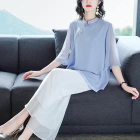 复古中国风,舒适雪纺阔腿裤套装HT-XY8036
