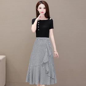 修身气质,减龄短袖T恤格子时尚连衣裙两件套YW-HYX-B22059