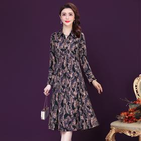 时尚洋气,改良旗袍长袖高贵大码印花连衣裙YMR-8351