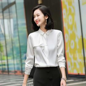 时尚洋气,荷叶边长袖雪纺宽松衬衣QL-2043