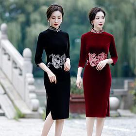 改良中袖中长款,刺绣日常旗袍HZJ-6901