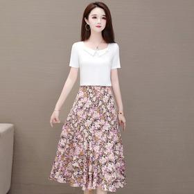 气质减龄,时尚修身短袖T恤碎花半身裙两件套YW-HYX-B22056