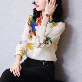洋气复古,印花长袖衬衫HT-HL20106