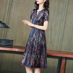 气质优雅,短袖中长款缎面重磅真丝印花连衣裙KQN-2933