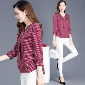 时尚修身显瘦,七分袖波点雪纺衫YW-YSME19B23