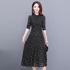 修身长袖,时尚A字气质减龄中长款印花连衣裙YW-YSME20153