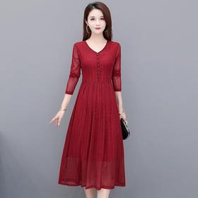 修身显瘦,中长款时尚气质减龄长袖连衣裙YW-SC20B248