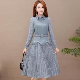 气质修身针织背心,碎花长袖两件套装连衣裙YW-JLNH-YMJA79