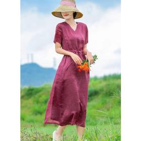 V领减龄薄苎麻,系带修身长款连衣裙HS-19843H