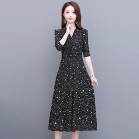 修身显瘦,气质减龄长袖波点连衣裙YW-YSME20156