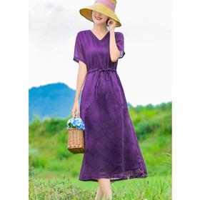 V领减龄薄苎麻,系带修身长款连衣裙HS-19843Z