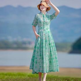 气质长款民族风,显瘦连衣裙开衫裙 HT-YX7247