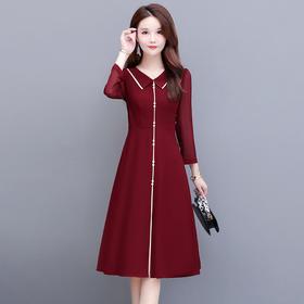 时尚气质,减龄娃娃领修身长袖连衣裙YW-YSME20155