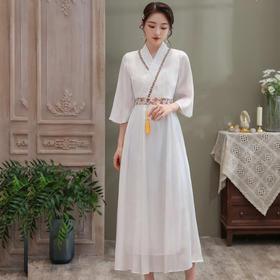 时尚改良,闪亮天丝绣花边蕾丝V领大摆连衣裙ZSM-200721