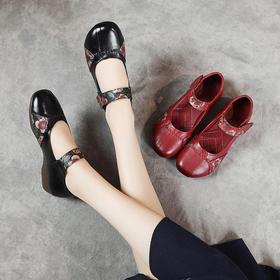 复古民族风,真皮牛筋平跟浅口复古单鞋MLD-8022