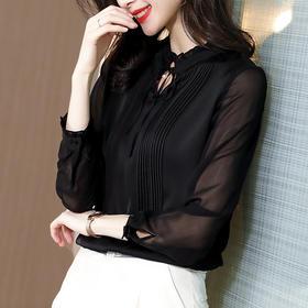 性感百搭,蕾丝透明长袖系带重磅真丝衬衫SS-03-2402