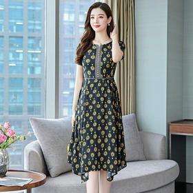 修身显瘦,长款裙摆不规则时尚真丝连衣裙ASE-8952