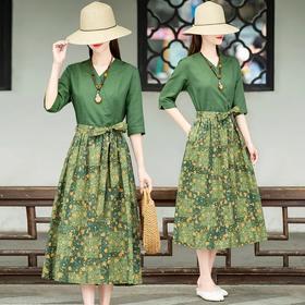 舒适百搭,印花V领民族风收腰系带连衣裙HT-YX9753