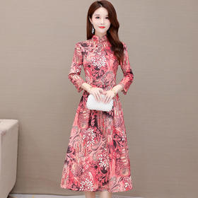 气质修身,长袖高贵改良版旗袍印花连衣裙YW-JMYS20C805