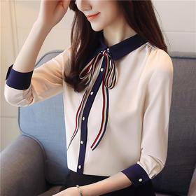宽松舒适,蝴蝶结雪纺长袖系带打底衬衫AYL-9121