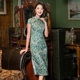 舒适修身,中式时尚改良短款苎麻印花旗袍SH-1927-2