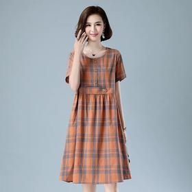 韩版宽松洋气减龄,遮肚子显瘦格子连衣裙 HR-BYJG3917