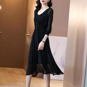 时尚收腰显瘦,气质V领遮肚黑色真丝连衣裙SS-05-1814