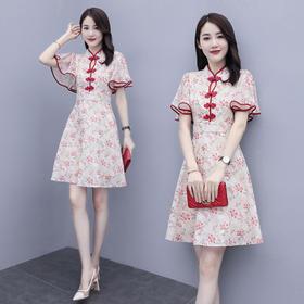 简约时尚,中腰短袖优雅气质潮流连衣裙HR-SERQ2073