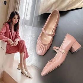 2020玛丽珍鞋手工缝线搭扣方头低跟单鞋BY-FE-C189