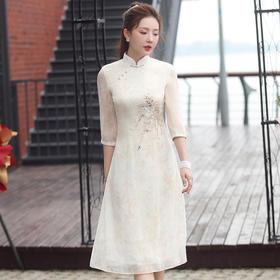 【娇色】古典优雅,改良雪纺绣花奥黛印花旗袍XGT-Q2332