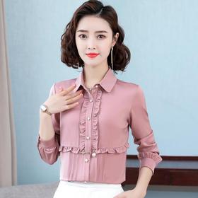 洋气时尚,花边设计感翻领长袖衬衫TR-8060
