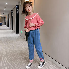 洋气休闲衬衫,牛仔裤两件套PJX-DX3479