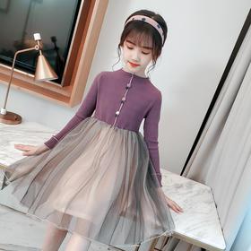 JQFS-YBT新款时尚洋气长袖拼接网纱公主裙TZF