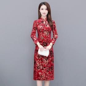 QYM-LFDS-XX20B9203新款时尚优雅气质丝绒印花中长款旗袍裙TZF