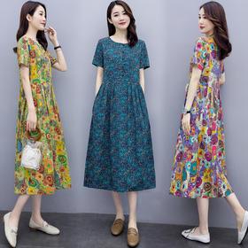 时尚气质,优雅印花圆领大码连衣裙HR-NYMYZ502