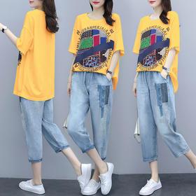 AHM-xde5005新款时尚气质休闲宽松拼贴刺绣两件套TZF