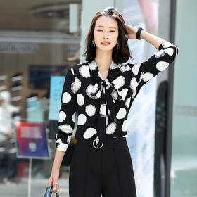 休闲气质,长袖雪纺蝴蝶结系带波点衬衫QL-2055