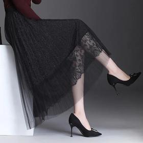 优雅百搭,高腰中长款蕾丝百褶半身裙AL-2120