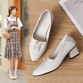 真皮女单皮鞋,低跟方跟一字扣时尚潮鞋 KQ580