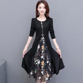 时尚气质,修身显瘦长袖印花连衣裙YW-TYH20F17