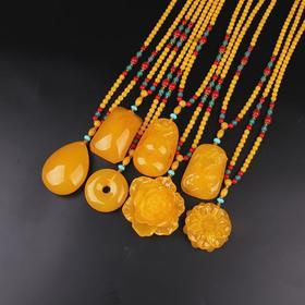 二代琥珀蜜蜡,鸡油黄水滴项链挂件NM-2207161