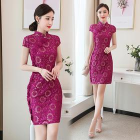 时尚通勤,蕾丝中腰常规短袖连衣裙HR-YBX5887