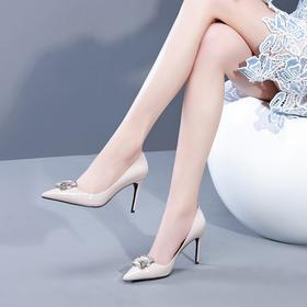 OLD-10582新款时尚真皮尖头水钻方扣浅口细高跟鞋TZF
